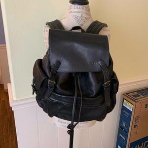 Black, vintage leather Ellington backpack.